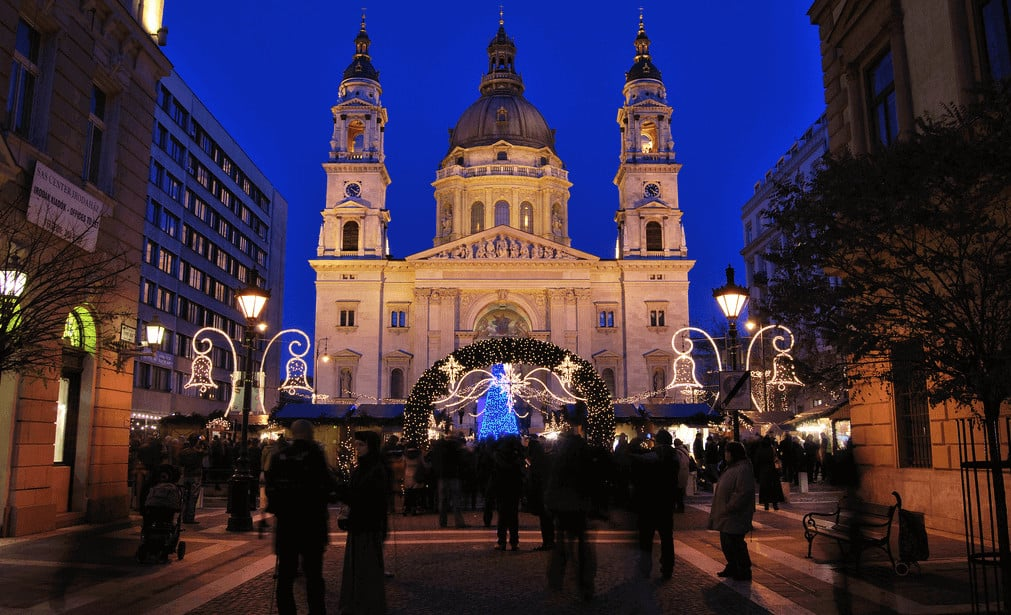 Budapest-Christmas-Market-Basilica-Hungary best Christmas markets in Europe