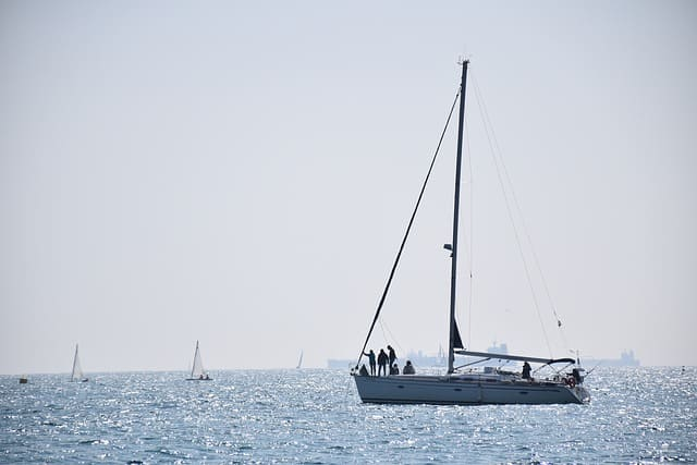 A sailboat off the coast of Barcelona