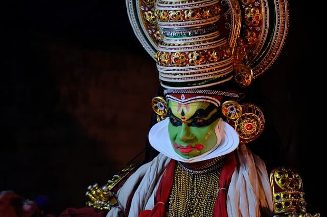An artist ready to perform Kathakali