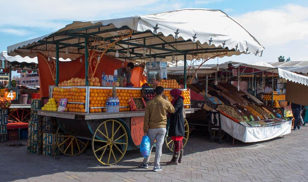 An orange juice vendor in Jemaa el-Fnaa, Marrakesh