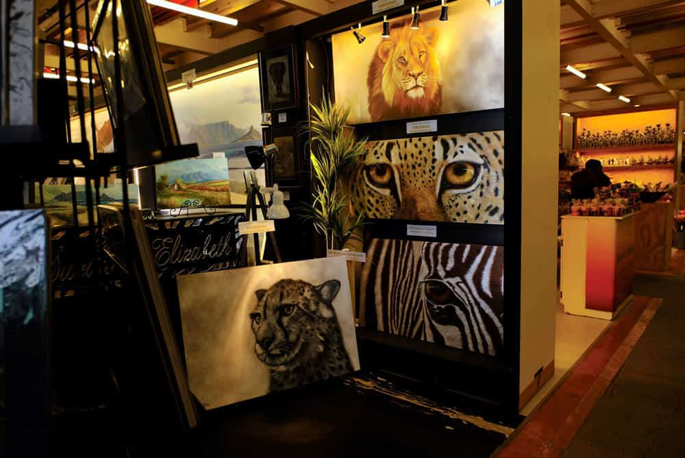 Artworks on display at the Waterfront market - Cape Town