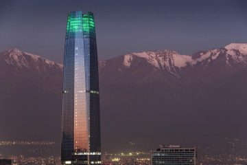 Costanera Center with the background of Andes - Santiago