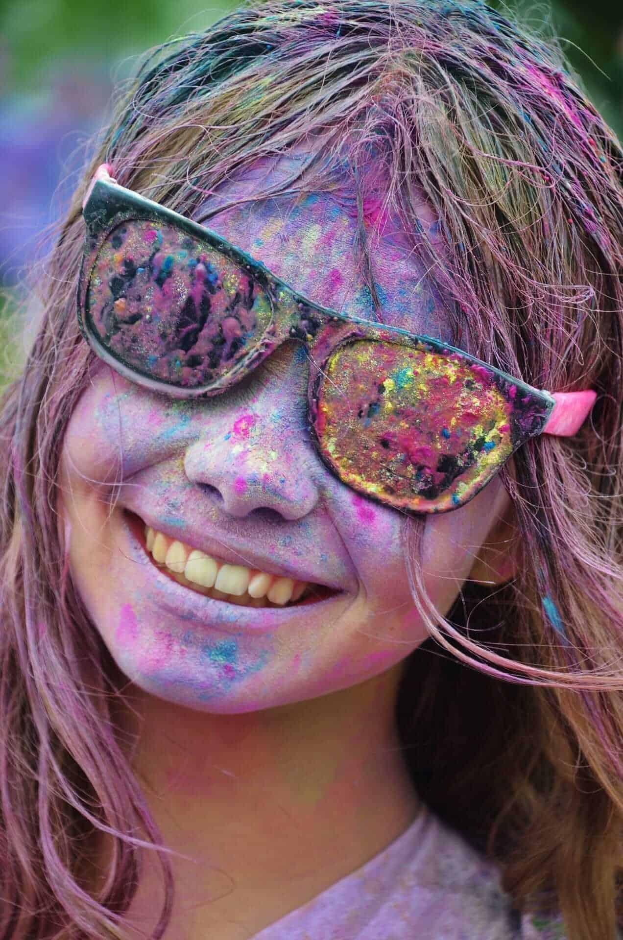Girl celebrating Holi