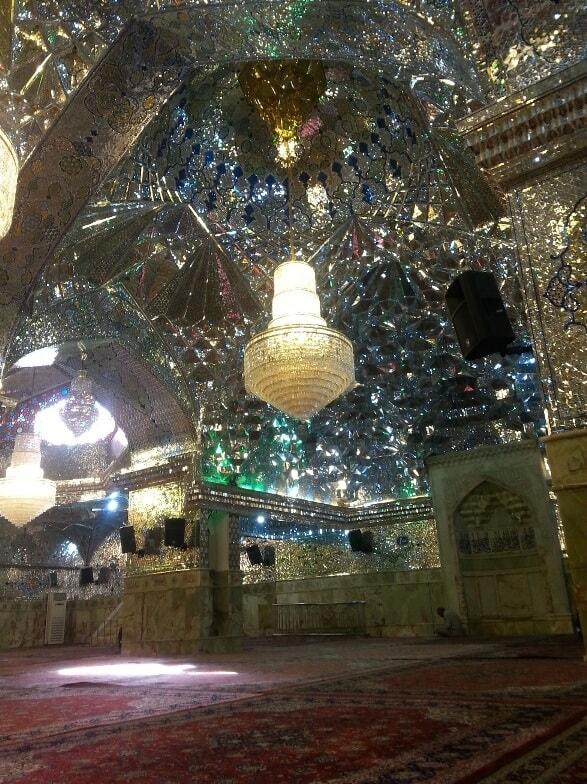 Glass-hall-in-Shahcheragh-mosque-Shiraz-Iran