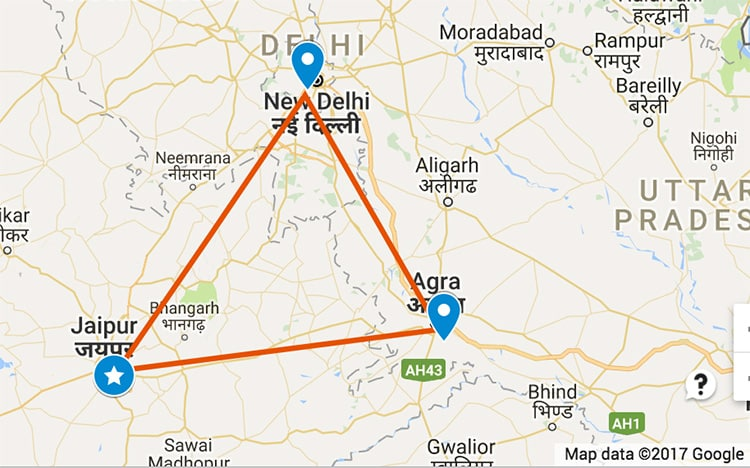 The Golden Triangle on the map of India