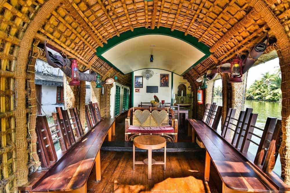 Inside of a boathouse in Kerala