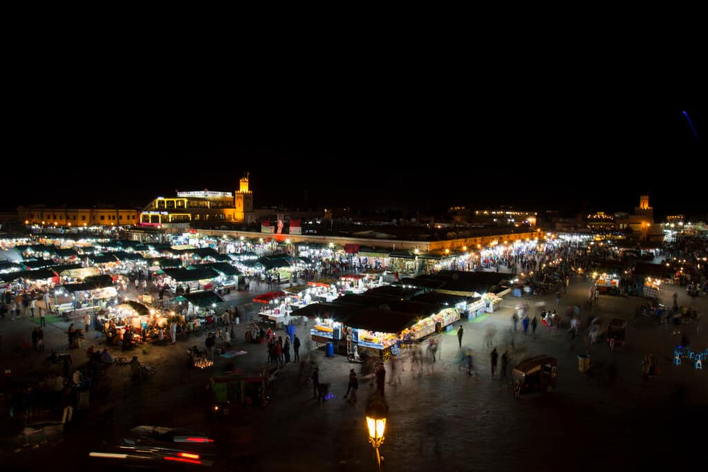 Jemaa el-Fnaa in the night