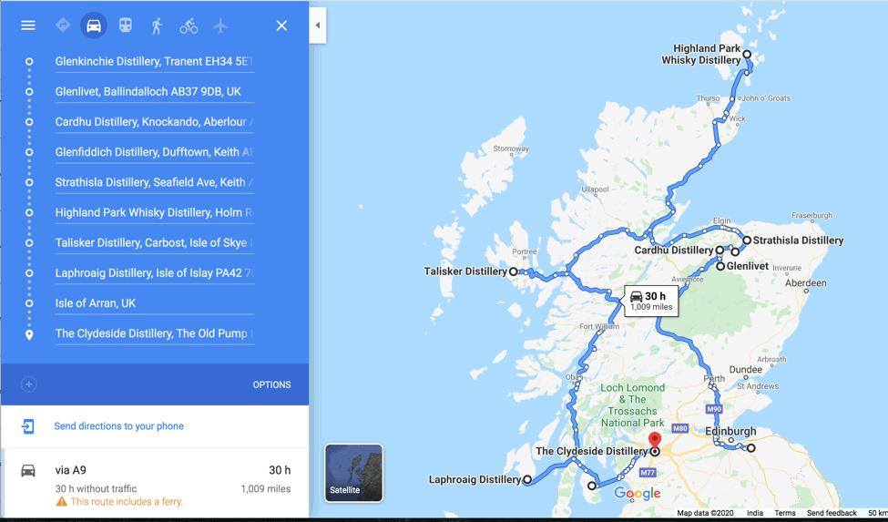 Scotch Tasting Trail map