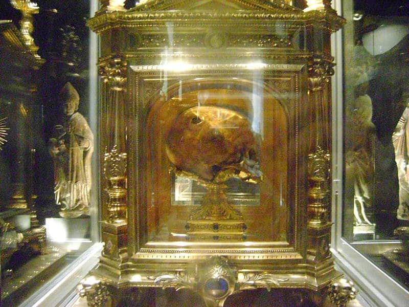 Skull of St. Aubert at Avranches, Mont Saint Michel