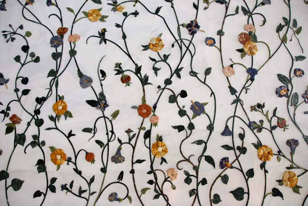 Floral motifs on marble in the Taj Mahal