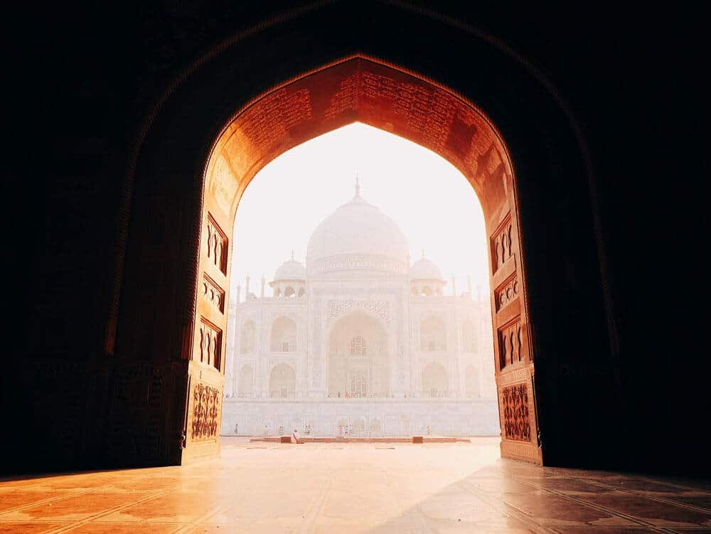 View of the Taj Mahal from the inside of the mosque