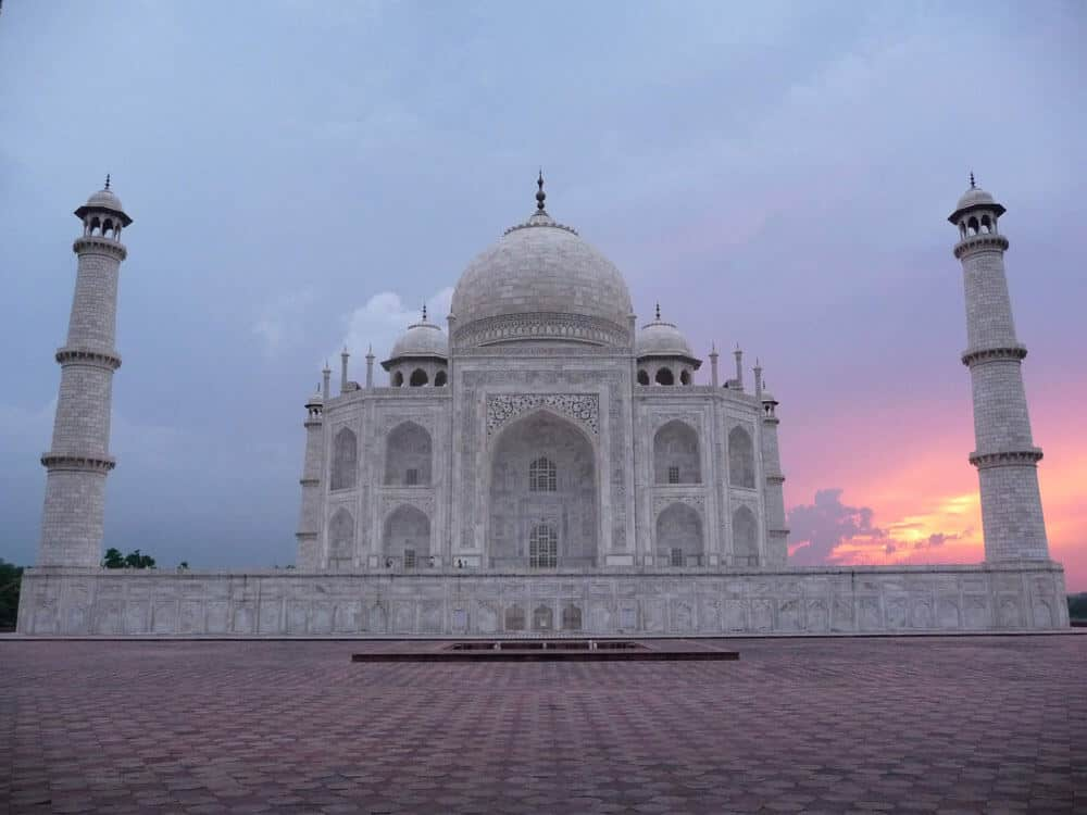 The Taj Mahal during sunrise