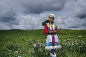 Woman in traditional attire, Mongolia