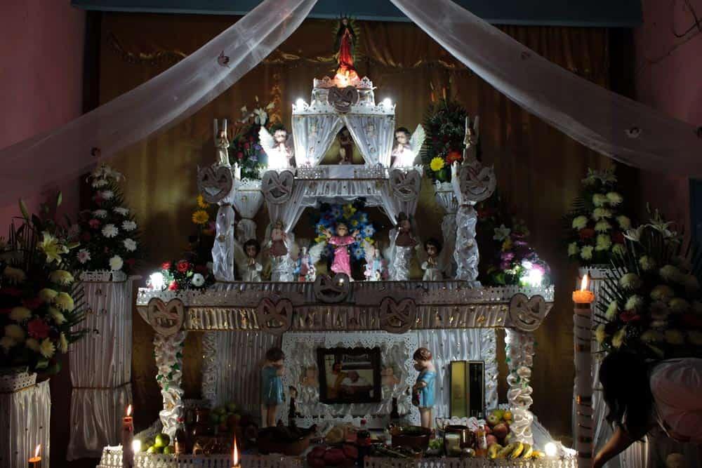 Altar of Día de Muertos in Huaquechula, Mexico