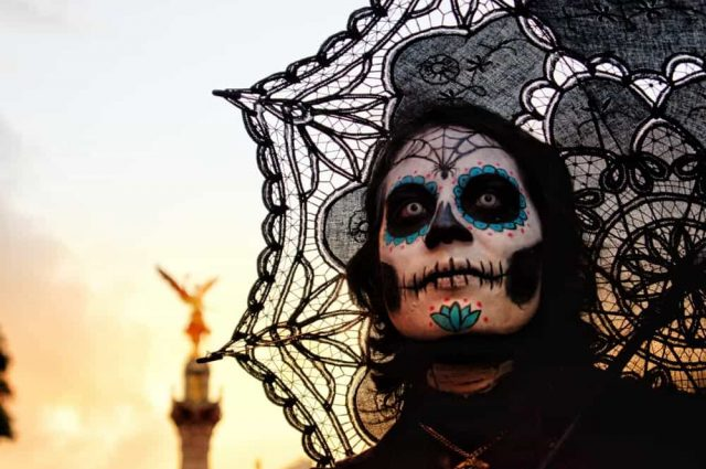 catrina in a day of the dead parade