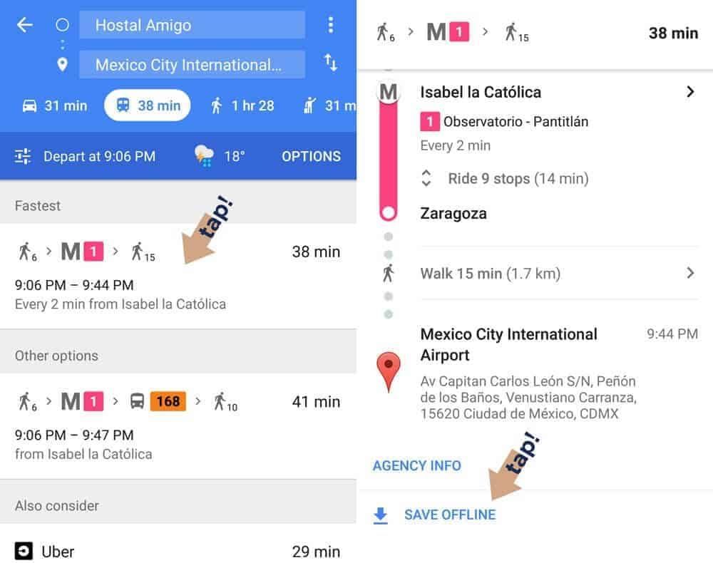 Send routes on Google Maps to your phone to have it available offline