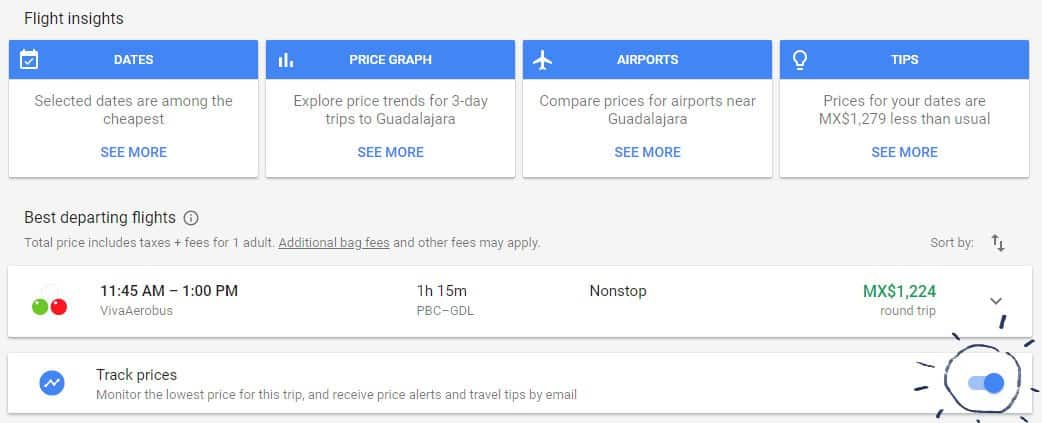 Use Google Flights for booking cheap flights